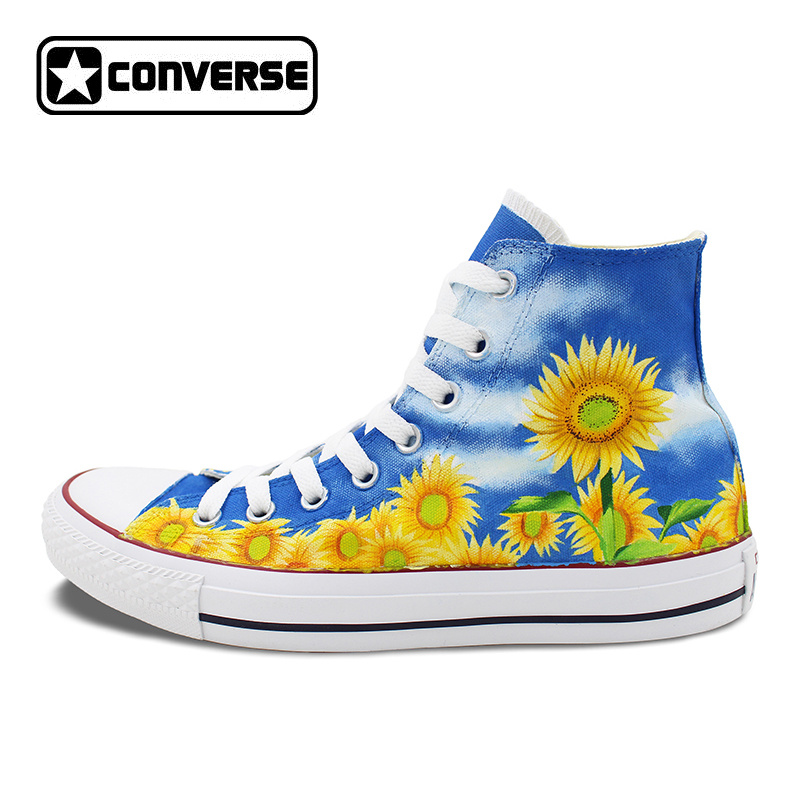 6089a3edf2ea Women Men Converse Chuck Taylor Floral Sunflower Original Design ...