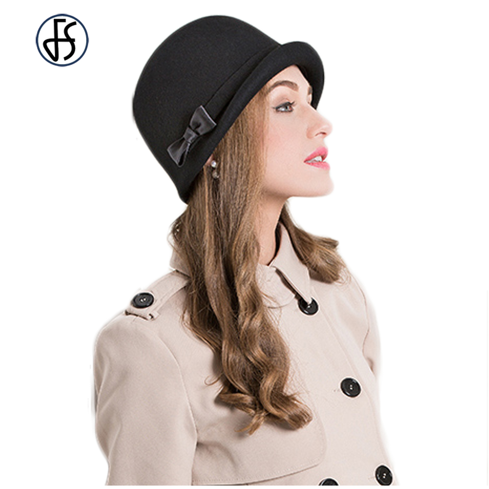 Female 100% Wool Fedoras Felt Hat Bow Curl Birm Protect Ear Warm Bowler Winter Floppy Ladies Church Cloche Hats