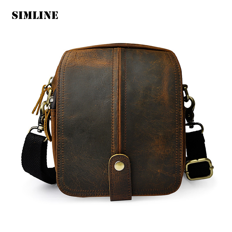 SIMLINE Vintage Casual 100% Real Genuine Leather Cowhide Men Messenger Bag Shoulder Crossbody Bag Waist Bag Pack Bags For Man vintage bags real genuine leather cowhide men waist pack pouch for men leather waist bag outdoor travle belt wallets vp j7144