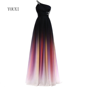 Sexy Criss-Cross Back One Shoulder Ombre Blue Black Red Chiffon Long Prom Dresses 2018 Real Photos Formal Party Gowns 6