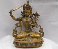 Tibet Buddhism Goddess Bronze Copper Manjushri Kwan Yin Goddess Buddha Statue
