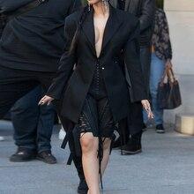 Парижская мода неделя Cardi B черный Блейзер со шнуровкой и шорты, комплект из 2 предметов, вечерние, сексуальные, с открытой спиной, блейзер длиной до колена, штаны, костюм