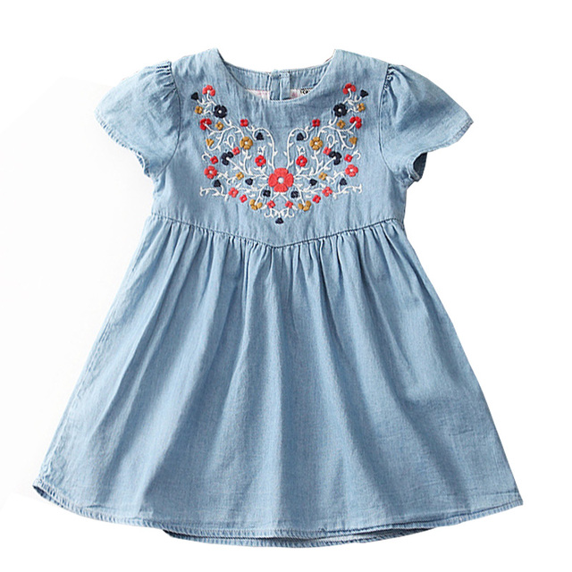2017 Girls european style embroidery dress floral kids jeans dress baby girl children vestidos hot sale kids clothings