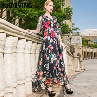 KAMIYING пол Длина платье Для женщин осень 2018 цветок Англия вечерние плиссированные платья 100% натуральный натурального шелка с v образным вырез