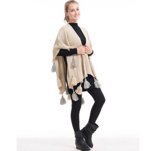 Mingjiebihuo New women's autumn and winter thick models Europe and the United States tassels long shawl Cape loose warm(China)