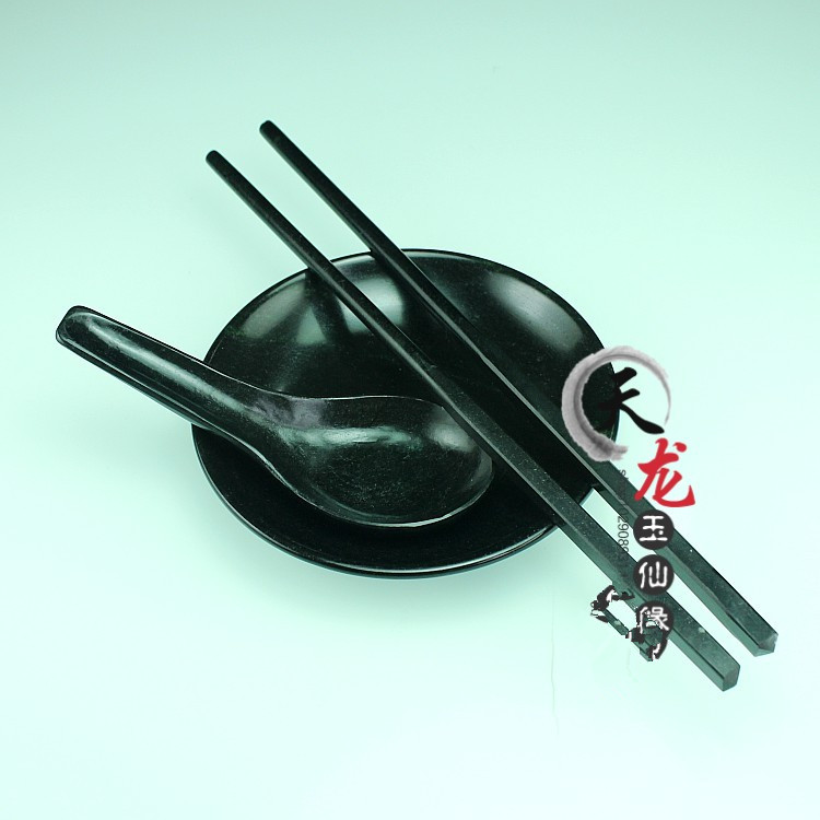 Chinese black jade and Jasper healthy chopstick spoon tableware.Chinese black jade and Jasper healthy chopstick spoon tableware.