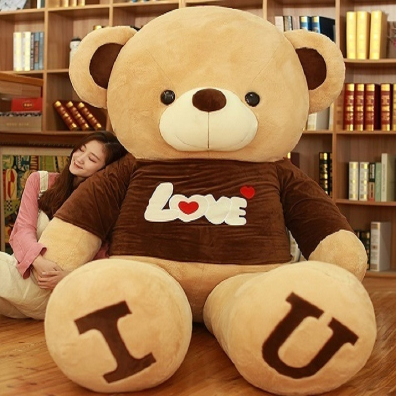 Semi Finished Empty Teddy Bear Express Of Love T- Shirt Plush Brown Bear 80-180 Cm Girlfriend Birthday DIY Gift Without Filler