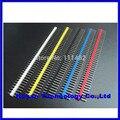 10 pçs/lote 2.54mm Preto + Branco + Vermelho + Amarelo + Azul Única Linha Masculina 1X40 Pin Tira cabeçalho Ouro-banhado ROHS