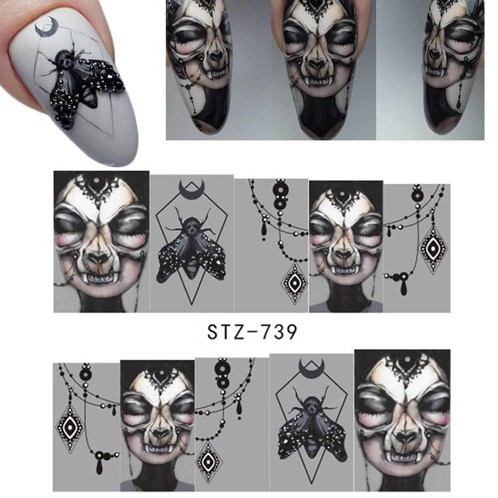 Image 3 - 25pcs Nail Stickers Halloween Sets Skull Bone DIY Slider Nail Art Water Decals Manicure Decoration Wraps Nail Foils CHSTZ731 755-in Stickers & Decals from Beauty & Health