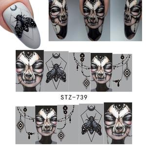 Image 3 - 25pcs Nail Stickers Halloween Sets Skull Bone DIY Slider Nail Art Water Decals Manicure Decoration Wraps Nail Foils CHSTZ731 755