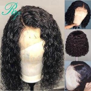 Image 4 - 13x4 150% קצר מתולתל בורגונדי צבע תחרה מול שיער טבעי פאות עם תינוק שיער ברזילאי דבש בלונד בוב לחתוך אישה שחורה