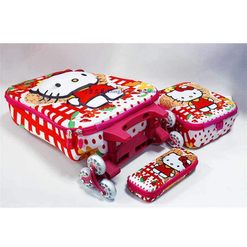 16inch3D Boy Anime Rolando Mala De Viagem Da Bagagem Caixa Do Trole Crianças Suba As Escadas Da Menina Dos Desenhos Animados Puxar Caixa Haste Caixa de Lápis Criança caixa