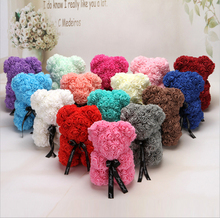 Artificial Roses Bear Flower 25Cm High Valentines Day Gift Rose Teddy Bears Holiday Wedding Flowers Party Decoration