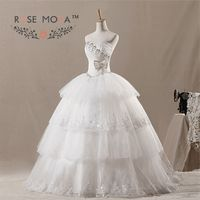 Gorgeous Crystal Beaded Wedding Ball Gown Lace Hemmed Tiered Skirt Debutante Dress Vestidos De Noiva Real