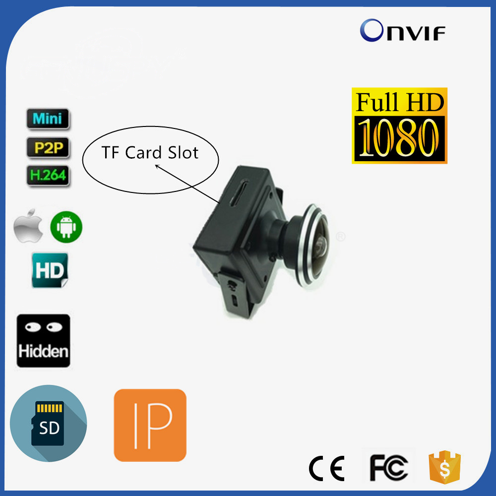 1080P Full HD SD Card Slot Micro IP Onvif Camera Video Surveillance Wide Angle Security CCTV Camera With 1.78MM Lens