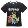 2017 Verano de Los Muchachos Camisetas Pokemons Ir de Anime Niños T camisas de Algodón de la Historieta Pikachu Tees Niños Niñas Tops Camisetas Niños traje