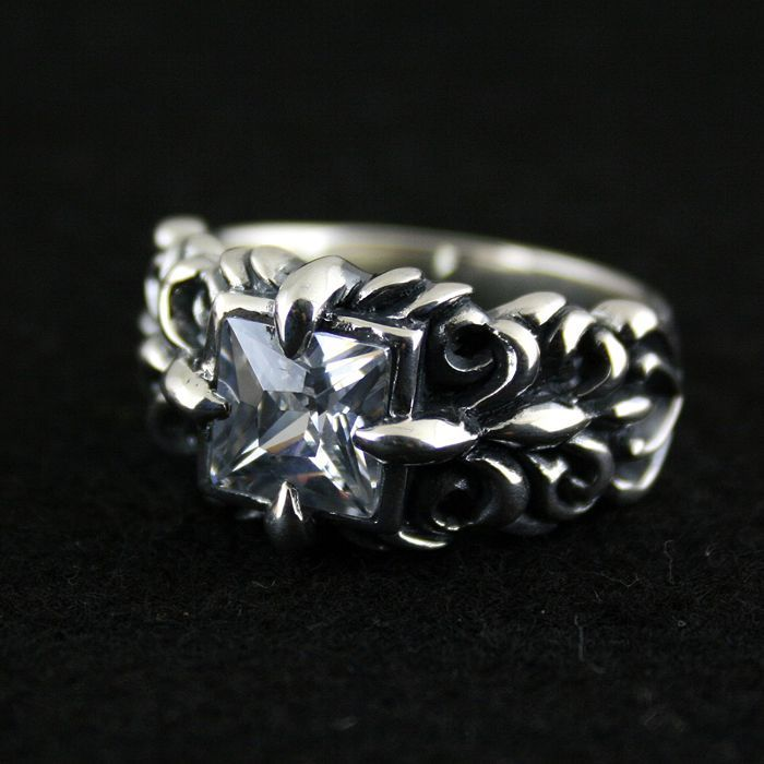 925 pure silver ring square white tang grass thai silver ring male female vintage lovers ring 925 pure silver ring crystal vintage ring thai silver rose manjaris women flower ring