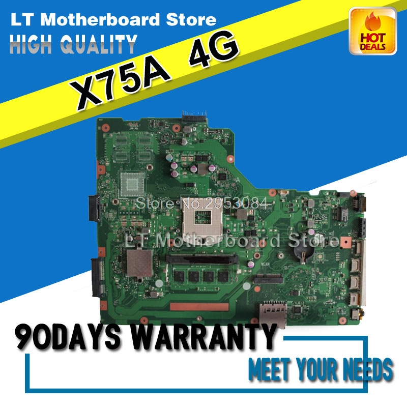 For ASUS A75A X75A X75A1 X75VB laptop motherboard HM76 REV:2.0 4GB RAM PGA989 mainboard 100% working S-4 free shipping x75a 4g ram mainboard for asus r704v x75vd x75a x75a1 x75v x75vb x75vc motherboard hm76 rev2 0 60 ndomb1501 b06