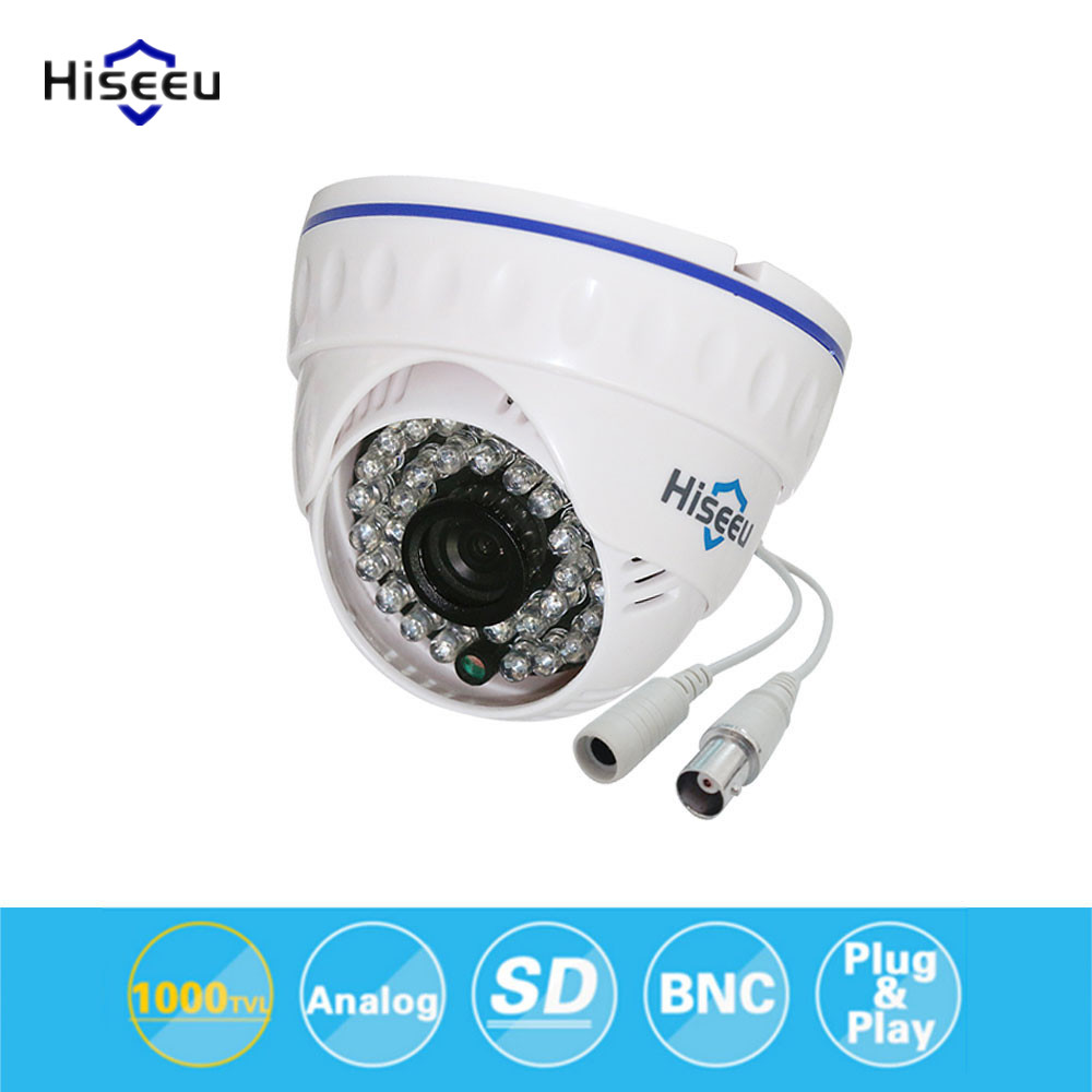 Hiseeu CMOS 800TVL CCTV Camera Mini Dome Security Analog Camera indoor IR CUT Night Vision Plug Surveillance Camera 36 LEDS 35 hd 1200tvl cmos ir camera dome infrared plastic indoor ir dome cctv camera night vision ir cut analog camera security video cam