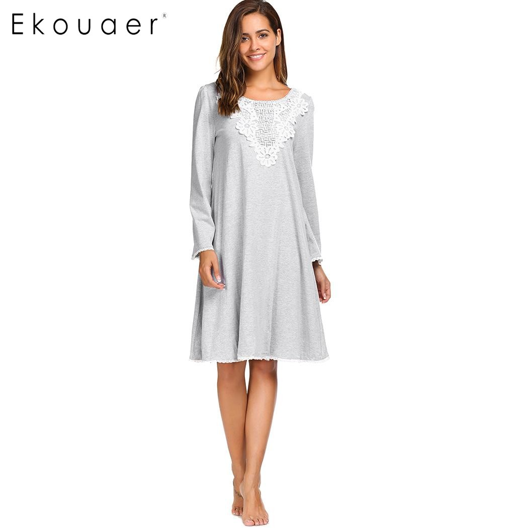 Ekouaer New Elegant Lace Nightwear Women Long Sleeve Patchwork Nightgown Autumn O-Neck Casual Loose Sleepwear