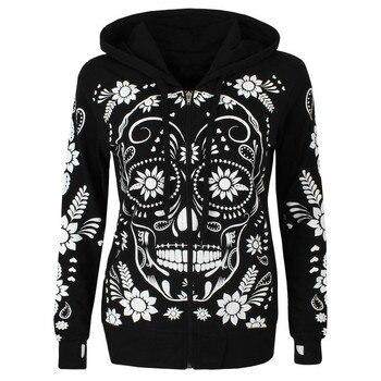 Women Streetwear Skull Print Hoodie