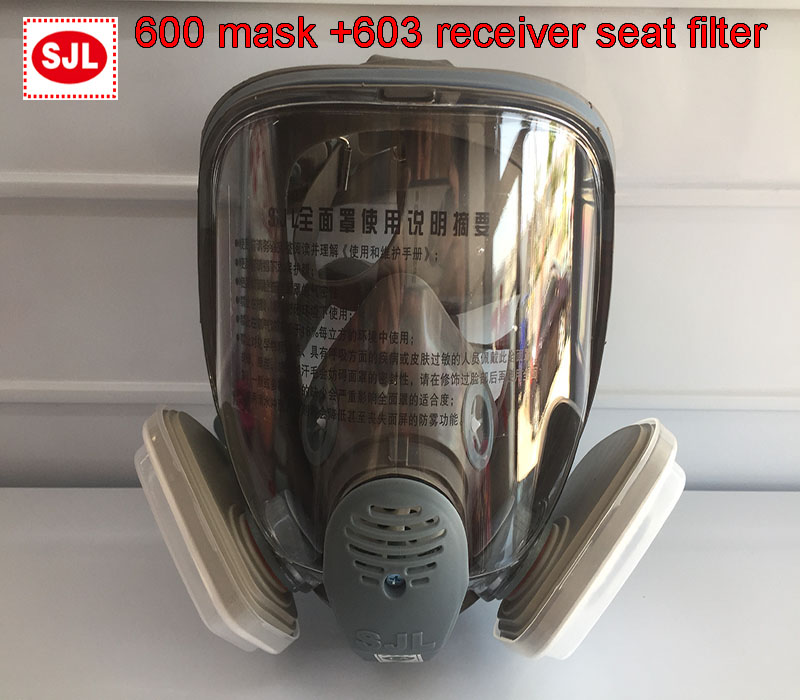 SJL 600 Gas Mask + 3M 603 Holder 5N11 Filter Cotton 501 Filter Box Respirator Mask Against Dust PM2.5 Welding Fumes Filter Mask