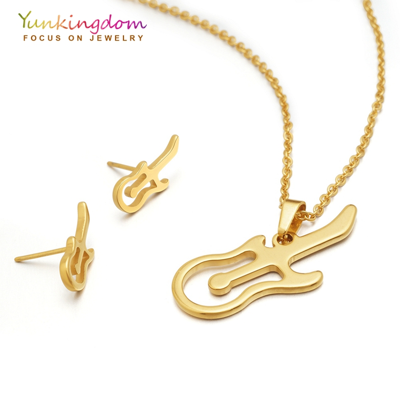 Yunkingdom <font><b>Guitar</b></font> Design Fashion Jewelry Sets for Women Stainless <font><b>Steel</b></font> <font><b>Necklaces</b></font> Earrings Sets Lovely Jewelry image