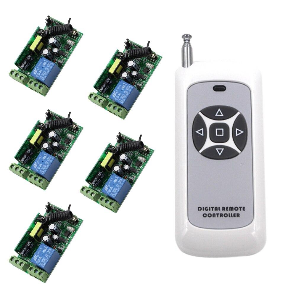 Smart Control rideau électrique télécommande sans fil interrupteur 1x5 boutons transmetteur et 5x85 V 110 V 220 V 250 V 1CH récepteurs