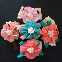 1 Pcs/lot 5 Colors Girls Knitting Headband Retro Hair Band Flower Headpiece Accessories Elastic Turban Hairband Wreath