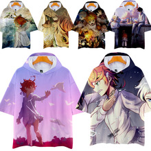THE PROMISED NEVERLAND Emma Cosplay T-shirt Tee top casual Men Fashion 3D print Anime street snap Short sleeve hoodie with Cap