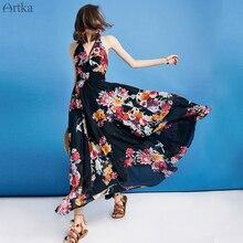 Artka 2019 夏の女性のドレスレザースリングヴィンテージドレスホルターノースリーブフラワープリントドレス弾性ウエストロングドレス LA12298X