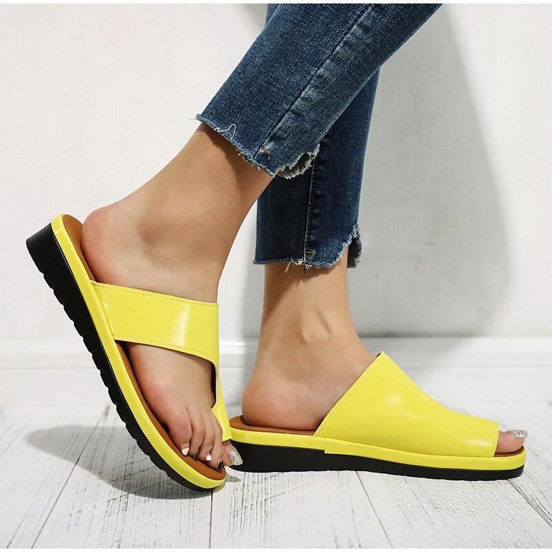 HTB1dZ6Iav1G3KVjSZFkq6yK4XXar MCCKLE Women Comfy Plain Shoes Flat Platform Ladies Casual Big Toe Foot Correction Sandals Orthopedic Bunion Corrector Flip Flop