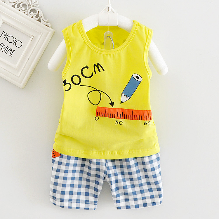 2017 Korean Summer Baby Boy Girl Clothes Sets Sleeveless Vest Tops + Plaid Shorts Childrens Outfits Kids Bebes Jogging Suits