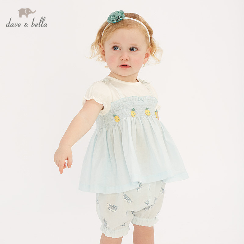 DBZ10623 Dave bella summer baby girl clothing sets fruit print children suits infant high quality clothes