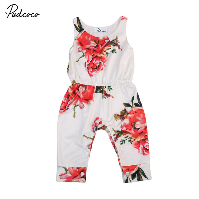 8ee0d47dab0c Cute Toddler Baby Girls Infant Summer Clothes Cotton Floral Sleeveless  Romper Jumpsuit Playsuit Kids One-