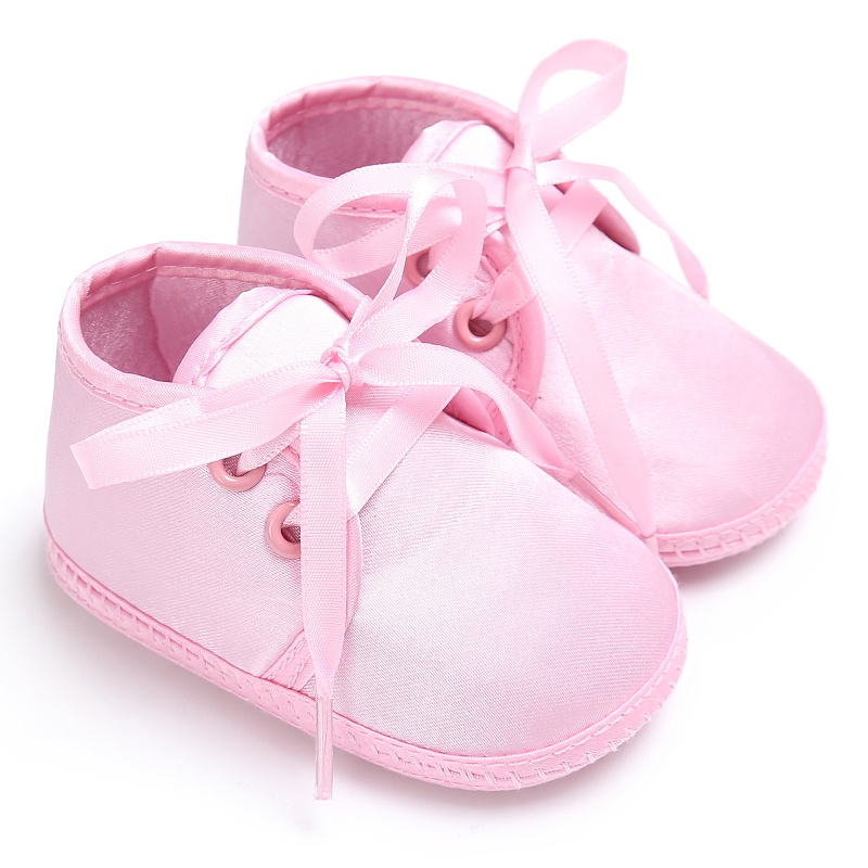 Spring/Autumn Newborn Baby Solid Color Cute Romirus Lace-up Silk Baby Infant First Walkers Casual Shoes