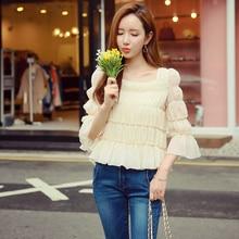Dabuwawa spring three colors chiffon blouse