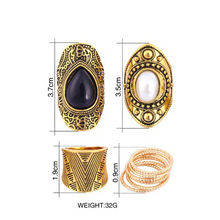 Fashion Exclusive VIP Custom Vintage Ancient Gold 9pc Ring Set Leaf Geometric Pattern Opal Mosaic Gothic Rings for Women Jewelry a suit of vintage geometric leaf cuff rings