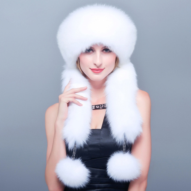Women's Winter Hats 2016 New Winter Genuine Natural Fox Fur Hat Bomber Hats Mongolia Style Cap Real Rabbit Fur Top Protector Cap