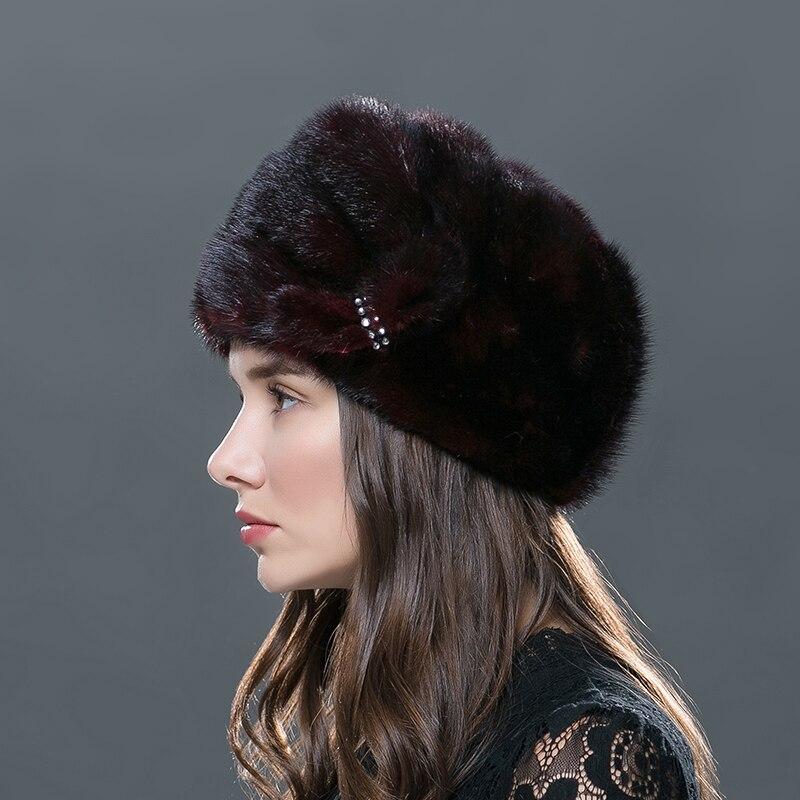 LTGFUR Femmes de Chapeaux Entiers Fourrure De Vison Femelle Chapeau Tricot Beanie Femme D'hiver Équipée Chapeaux De Mode Formelle Tricoté Cap Pour femmes - 2