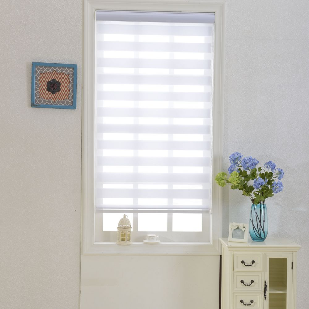 Zebra Blinds Horizontal Window Shade Double Layer Roller Blinds Window Custom Cut To Size White Curtains For Living Room