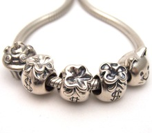SSVWG322 5X 100% Authenticity S925 Sterling Silver Beads SilverBead Fit European Charms Bracelet diy jewelry Lampwork