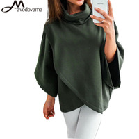 AVODOVAMA M Casual Batwing Sleeve Solid Top Women New Fashion Asymmetrical Turtleneck Blouse