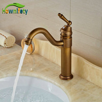 Contemporary Basin Faucet Antique Brass Bathroom Vanity Sink Tap Hot Cold Faucet