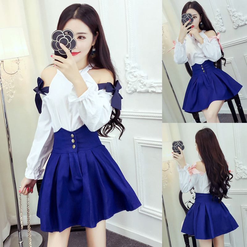 Fashion Vestidos Women White Shirts Blue Ball Gown Skirt Sets Cold Shoulder Blouse And Mini Skirts Suits Casual Two Pieces Suits