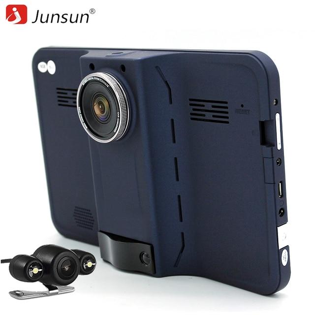 "Junsun 7"" Car DVR GPS Navigation android radar detector with rear view navigator europe/navitel Map car camera recorder dash cam"