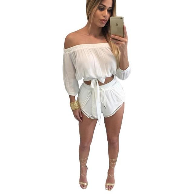Duas Peças Define fatos de Treino Das Mulheres 2016 Senhoras Sexy Blusa Pista suor Ternos Top de Culturas E Calções Definir Conjunto Feminino Plus Size tamanho