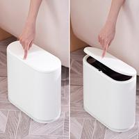 Creative Fashion Plastic Trash Can biuld in Pressing Cover Type Kitchen Waste Bin Sitting Room Toilet Trash Office Paper Basket4