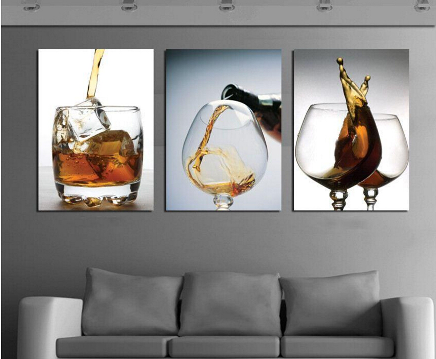 Hot sell 3 panels modern vintage kitchen wine glass wall painting flower art picture paint on - Home decor ltd paint ...