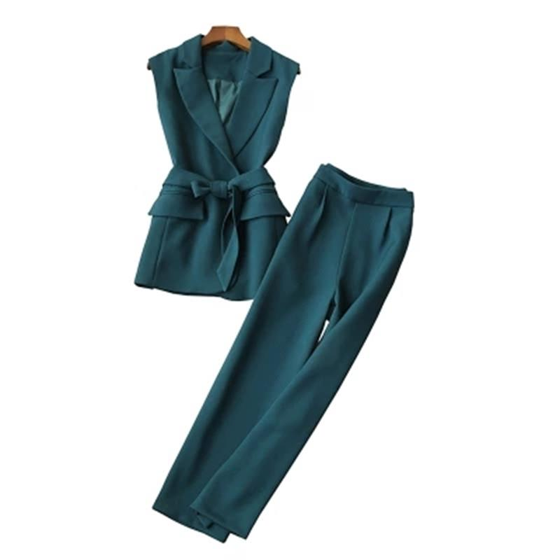 Fashion suit women spring New women s ladies temperament sleeveless vest suit women wide leg pants